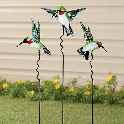 Metal Hummingbird Yard Stake Lawn Planter Garden Decor Outdoor ~ Set Of 3  NEW ~