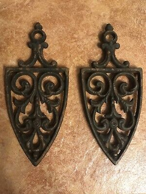 Vintage Jzh Cast Iron Trivet Cathedral T-12 1955, Lot Of 2, Used Condition