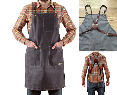 Work Apron with Genuine Leather Straps for Men and Women | sold by LOFTBROOK