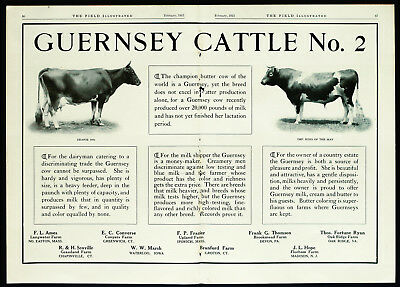 "1915 GUERNSEY CATTLE ""World Champion Butter Cow"" Dairy Farming 2-Pg Vtg PRINT AD"