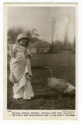 c 1910 Antique children child CUTE GIRL w/ GOOSE Bird photo postcard