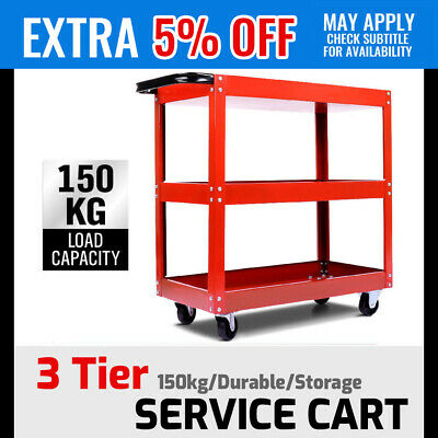 Service Cart Durable Tool Trolley 3-Tier Mechanic Storage Parts Tools Organizer