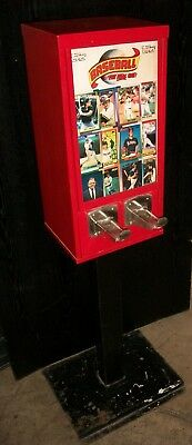 1970's Topps Baseball Card Vending Machine on stand. Monarch Product Sales Corp.