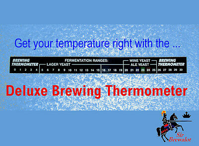Stick-On Thermometer Home Brew Beer, Spirits, 0c - 30c , Deluxe model