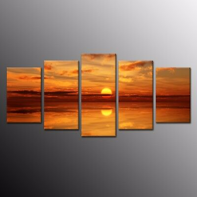 Modern HD Canvas Prints Painting Wall Art Red Clouds Ocean Sunrise Picture 5pcs