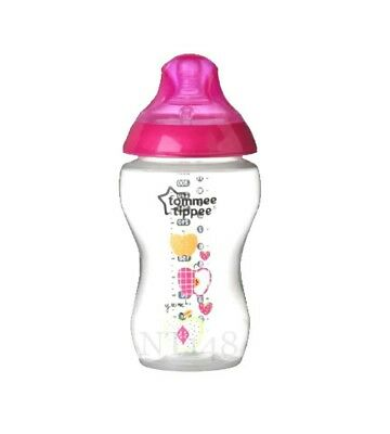Tommee Tippee Closer To Nature Decorative 340Ml Bottles 3M Plus  Pink  Bpa Free.