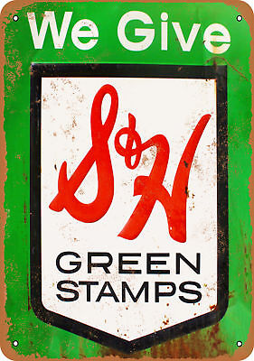 "7"" x 10"" Metal Sign - S&H Green Stamps - Vintage Look Reproduction"