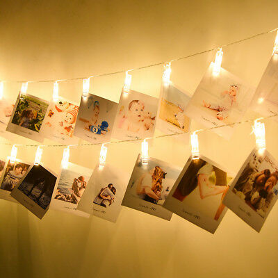 Warm White Hanging Picture Photo Peg Clip Fairy String Lights Party Decoration