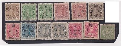 (K78-10) 1903-43 COCHIN India 13stamps including O/P (J)
