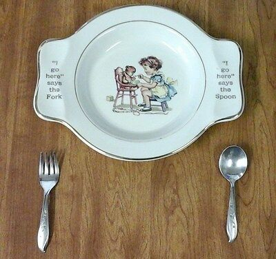 Vintage Child's Dish Salem China Co with Rogers Brothers Flatware