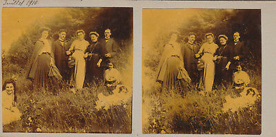 Stereoscopie Carte Stereoscopique Double Face Groupe Famille Struthof 1910