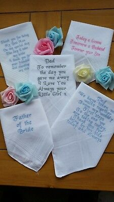 Ladies/Gents Personalised embroidered PLAIN MENS Hankie Mum-Dad  wedding