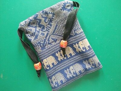 Tarot Card Pouch Bag Dice Pouch Jewelry Bag Elephant Blue Cotton With Drawstring