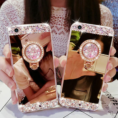 Luxury DIY Crystal Bling Diamond Ring Holder Stand Mirror Soft Cover Phone Case