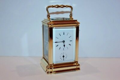 Antique Brass Carriage Clock Repeater with Alarm Function - Runs & Works Well