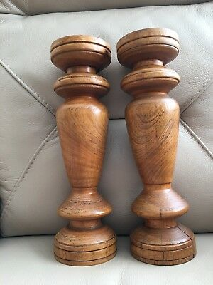 Vintage Pair 2 Treen Turned Wood Wooden Large Tall Altar Candlesticks 30.5cm
