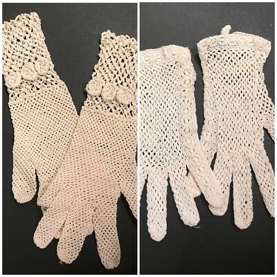 2 Pair Vintage Crochet Gloves / One FAIT MAIN FRANCE / One VERY FANCY