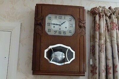 Art Deco French Carillon Wall Clock Westminster Chime, Lovely Oak Case