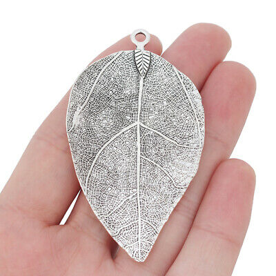 2 x Large Leaf Charms Pendants for Jewellery Making Antique Silver Tone 73x40mm