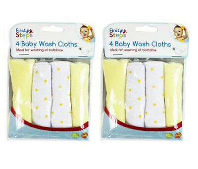 Pack of 8 Soft Baby Lemon Wash Cloths Towel Flannel 0 Months +