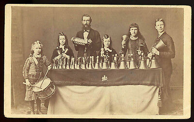 MUSIC FAMILY BELL RINGERS SNARE DRUM ACCORDION DAWLISH ENGLAND 1880s CDV PHOTO