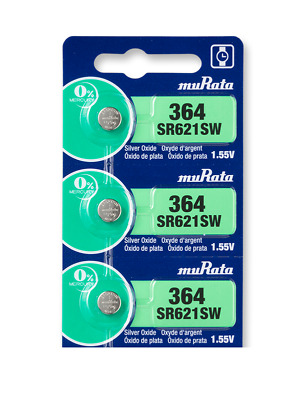 Sony SR621SW (364) 1.55V Silver Oxide Watch Batteries (3 cells) Blister Package