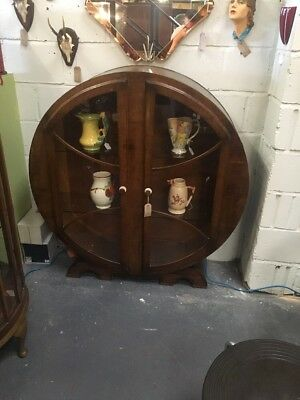 ANTIQUE VINTAGE 1920's / 1930's ART DECO ROUND DOME TOPPED DISPLAY CHINA CABINET