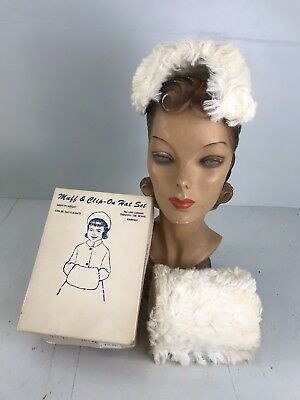 MR-Vintage 50s Girl's white faux fur headband hat+muff purse+original box