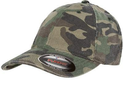dd8cfbd6b54 Flexfit Garment Washed Camo Fitted Flex Fit Cap Outdoors Camouflage  Baseball Hat