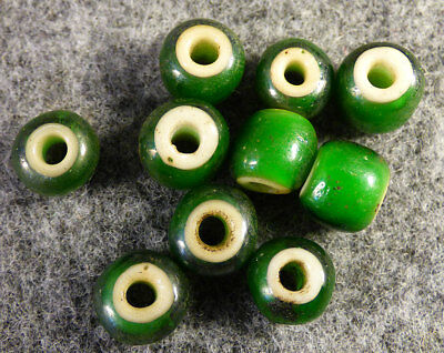 "Original Plains Indian Green ""White Heart"" Trade Beads Venetian Pre1800 Big Size"