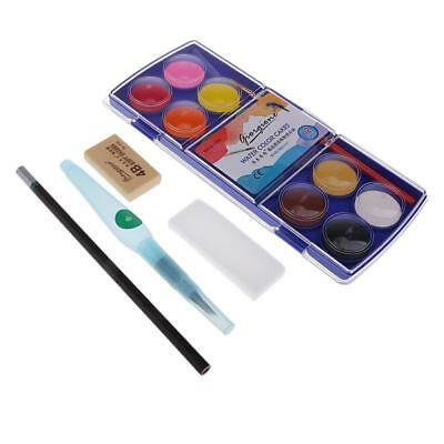 12 Assorted Colors Solid Watercolor Paint Set Portable Painting Art Supplies