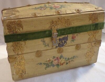Trunk Dome Lid Vintage Victorian Tole Painted Wooden Doll Humpback Camelback