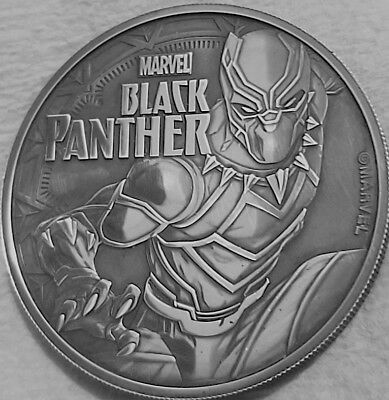 2018 Black Panther Marvel Series ,1 oz  .9999 Pure Silver Coin in Antique Black