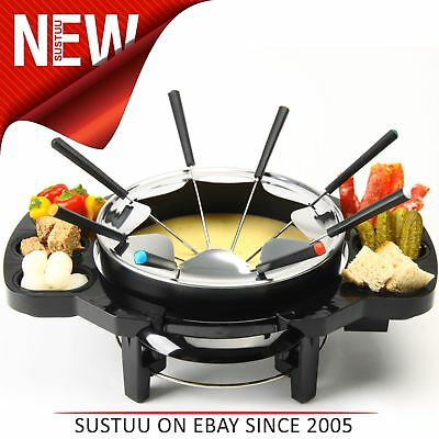 Global Gourmet Swiss Fondue with Dipping Sauce Pots│Heat Resistant Base│1000W