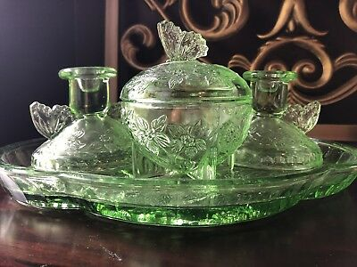 Rare Antique Green Depression Glass Butterfly Handle Candle Holder Dish Tray