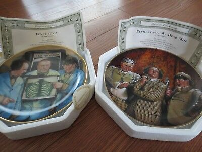 Complete Set of Three Stooges Franklin Mint Collector's Plates -- All 12 Plates