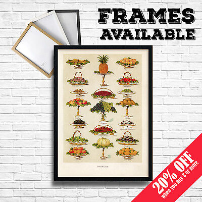 FRUITS Print, Vintage Food Posters Botanical Home Kitchen Restaurant Cafe  Decor