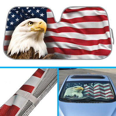 American Eagle Flag Car Sun Shade - Auto SUVs Van Reflective Windshield Sunshade