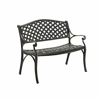 Cast Aluminum Garden Bench Seat Outdoor Metal Large Frame Antique Bronze Finish