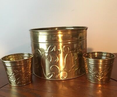 Vintage Lot of 3 Solid Brass Bowl Planters Jardinieres Floral Design Home Office
