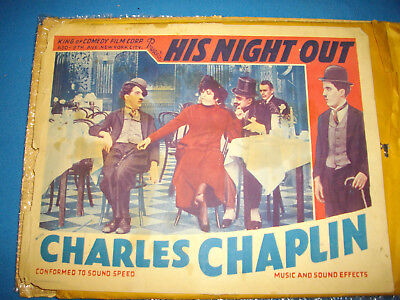 "1915 CHARLIE CHAPLIN 'colored' Lobby Card ""HIS NIGHT OUT"" CHARLOT RARE!!!"