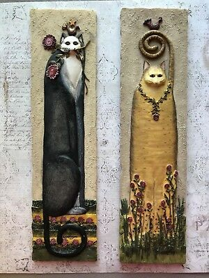 """Cat Tails Resin 3D Wall Plaque Decor by Eileen Smithson  11"""""""