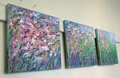 original oil painting - Cherry Blossoms Spring - 3 paintings direct from artist