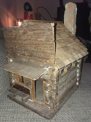 Vintage Folk Art Miniature Hand Made Wooden Log Cabin House Stone Chimney NICE!!