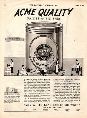 1919  Saturday Evening Post Magazine Print Ad Acme Paint Advertisement A153