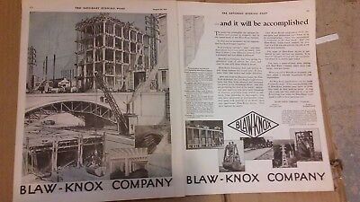 1919 Saturday Evening Post Magazine Print Blaw-Knox Advertisement A156