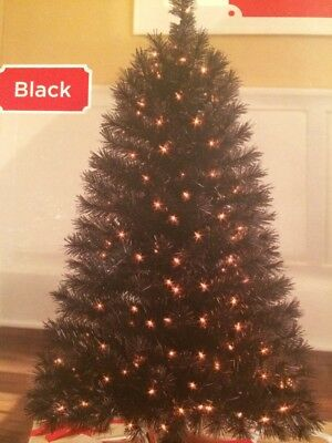 4 Pre Lit Black Indiana Spruce Holiday Time Christmas Tree