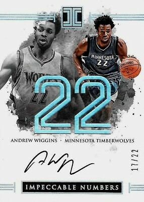 2016-17 IMPECCABLE BASKETBALL Andrew Wiggins Timberwolves Numbers SP Auto /22