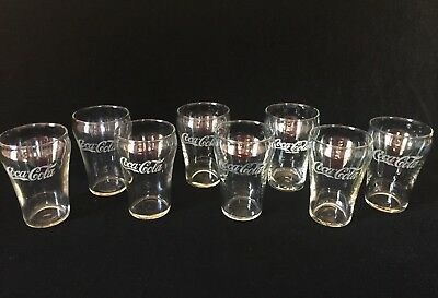 "Antique Lot of 8 COCA-COLA 4"" Glasses White Logo & Trademark inside ""C"" ~ RARE!"