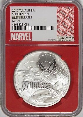 2017 Tuvalu Spider-Man Silver 1 Oz Coin NGC MS 70 Redcore Marvel Label - JY444